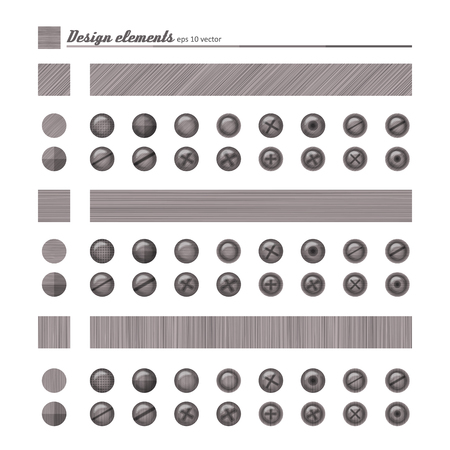 Set of elements for design - buttons and bolts, natural material. A vector. Illustration