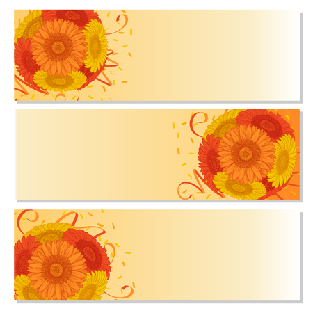 Banner with flowers bouquet - Summer background with Gerbera. Hand drawn vector illustration.