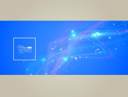 音楽の抽象的な背景 - ノート。透明色の波。輝く光の効果の背景。あなたのメッセージのためのスペース。ベクトル イラスト。