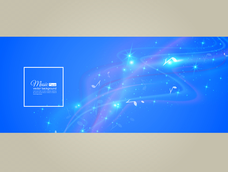 Abstract musical background - notes. Transparent color waves. Background of glowing light effect. Space for your message. vector illustration. Иллюстрация