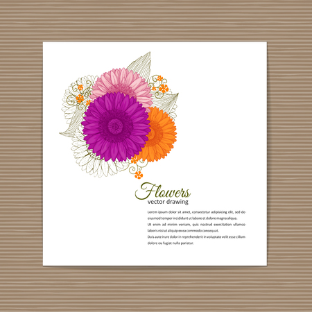Flowers bouquet - Summer background with Gerbera. Hand drawn vector illustration.