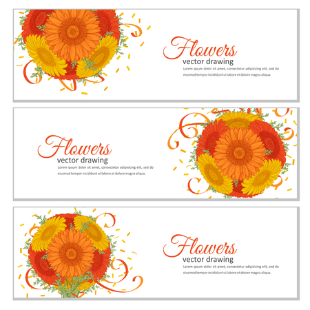 Flowers bouquet - Summer background with Gerbera, wormwood. Hand drawn vector illustration.