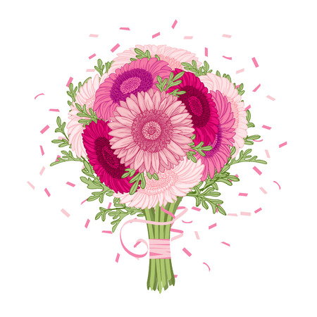 ajenjo: Ramo de flores - Fondo de verano con Gerbera, ajenjo. Dibujado a mano ilustración vectorial. Vectores