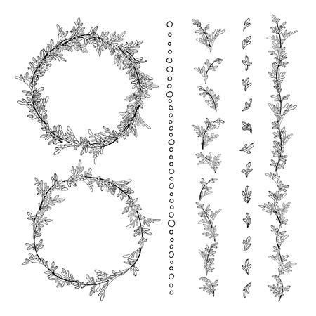 ajenjo: Ramas y hojas de ajenjo. Ilustración vectorial dibujado a mano.