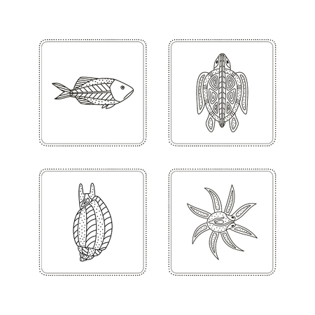 Hand drawing - fish, turtle, mollusk, octopus