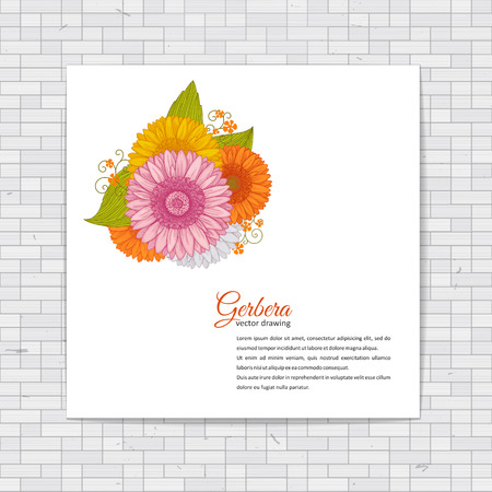 c075723e81d Flowers bouquet - Summer background with Gerbera. Hand drawn vector  illustration.