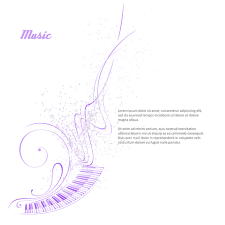 Simplified vector illustration - Music. Notes, lines, musical instruments.