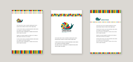 Corporate style - Bright snail.  Cover for banners, posters, brochures, flyers. Vector.