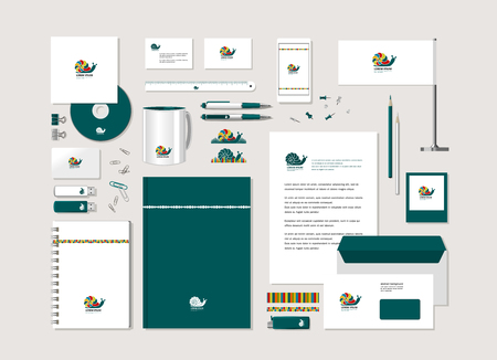 The bright corporate style with snail. Samples of business cards, a disk, a flag, a pen, a flash card, a form, an envelope, a mug, a notepad, a pencil. Vector.