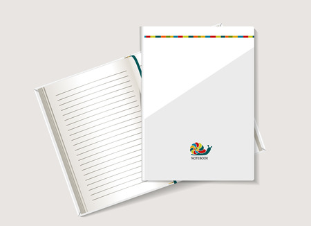 Bright snail. The form for a notebook, the daily log. Corporate identity. Vector.