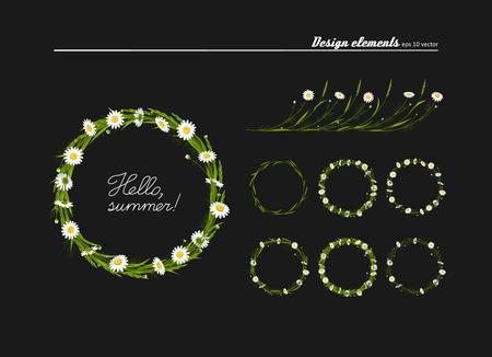 Set of elements for design - meadow camomiles, green grass. A vector. Banco de Imagens - 112124365