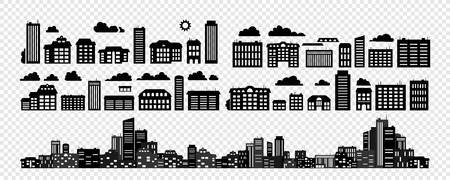 Set - Silhouettes of buildings. Urban cityscape. Vector illustration.