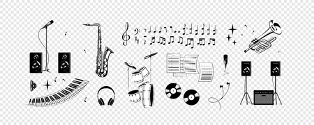 Set - notes, musical instruments, sound. Simplified vector illustration - Music.  イラスト・ベクター素材
