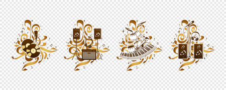 Vector compositions with musical instruments, notes, paint drops, elements of graffiti.
