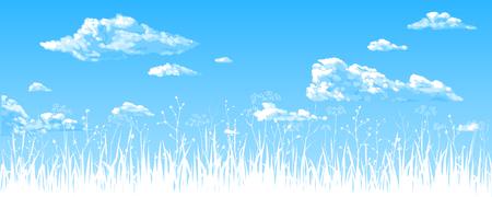 Panorama: el cielo azul, las nubes, las hierbas silvestres. Dibujo vectorial. Ilustración de vector