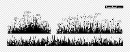 Meadow grass. Set of elements for design. Vector set isolated on white.