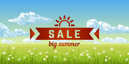 Big summer sale. A banner with an summer panorama - the blue sky, clouds, grass, flowers. Vector illustration.