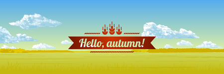 Autumn panorama - the blue sky, clouds, the yellow field. Vector illustration.