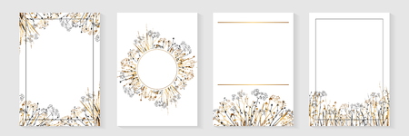 Nature art - posters, banners, greeting card with wild grasses. Vector frame set isolated on white.