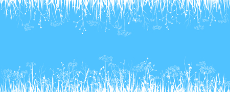 Nature art - background with wild grasses. Vector illustration. Ilustração