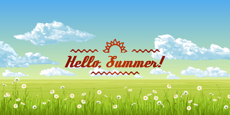 Hello, summer! A banner with an summer panorama - the blue sky, clouds, grass, flowers. Vector illustration.