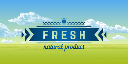 Fresh natural product. A banner with an summer panorama - the blue sky, clouds, grass, flowers. Vector illustration.