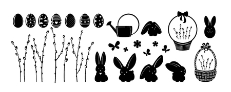 Set of elements for your design - Easter. Flowers, painted eggs, rabbits etc. A vector. Çizim