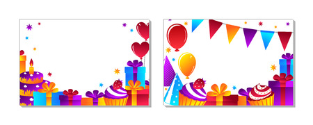 Holidays, cheerful events. Composition for your design - banners, posters, placards, brochures, flyers etc. Eps10 vector template.