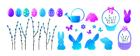 Set of elements for your design - Easter. Flowers, painted eggs, rabbits etc. A vector.