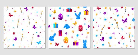 Set of seamless texture - Easter. Flowers, painted eggs, rabbits etc. Eps10 vector pattern.