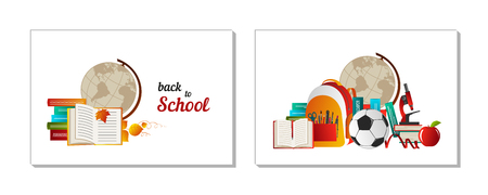 School goods, office supplies - books, globe, telescope, microscope, pencil, etc. Back to school. Eps10 vector template.