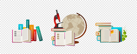 School goods, office supplies - books, globe, telescope, microscope, pencil, etc. Back to school. Eps10 vector set.