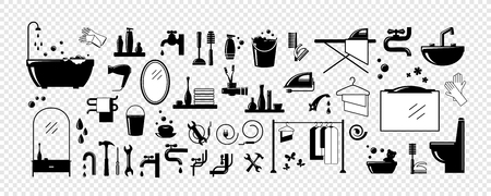 Bathroom equipment, repair, cleaning. Set for your design - banners, posters, placards, brochures, flyers etc. Eps10 vector illustration.