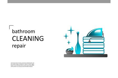 Equipo de baño, reparación, limpieza. Composición para su diseño: pancartas, carteles, pancartas, folletos, volantes, etc. Plantilla de vector Eps10. Ilustración de vector
