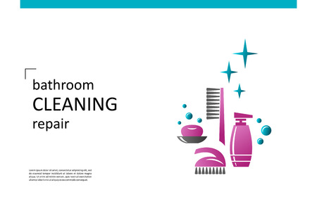 Bathroom equipment, repair, cleaning. Composition for your design - banners, posters, placards, brochures, flyers etc. Eps10 vector template. Ilustração