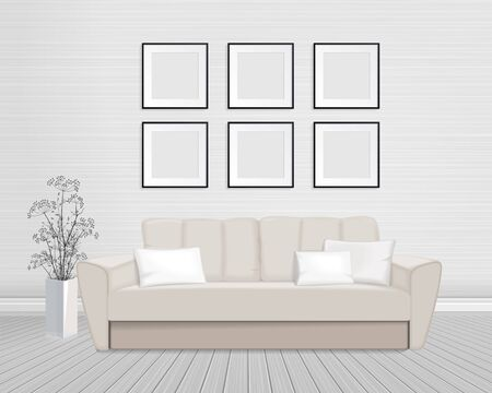 Vector drawing - interior with frames on the wall, for mockup, eps 10. Ilustração