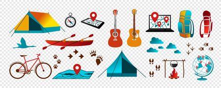 Set of elements for your design - tourism, travel, active rest. Tent, compass, fire etc. A vector. Ilustração