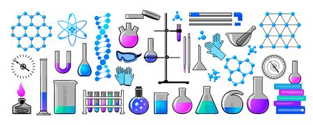 Chemistry. Formulas of chemical elements, molecules, instruments. Set for for your design - banners, posters, placards, brochures, flyers etc. Eps10 vector set.