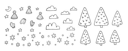Set of elements for design - Winter. Drawing with line-art, isolated on white background. Eps10 vector set.