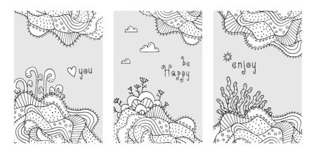 Decorative floral drawing with line-art. Neutral abstract cover for your design - banners, posters, placards, brochures, flyers etc. Eps10 vector template set.