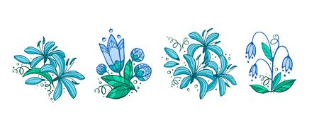 Set of floral compositions. Flowers drawing with line-art, isolated on white background. Eps10 vector set.