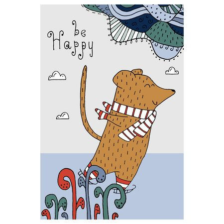 Drawing with line-art - funny rat in the winter and hand drawn elements. Eps10 vector illustration.
