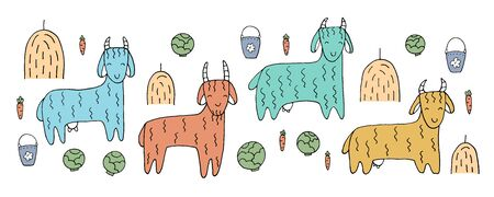 The drawing - funny goats and hand drawn elements. Animals on the farm. Eps10 vector line-art illustration.