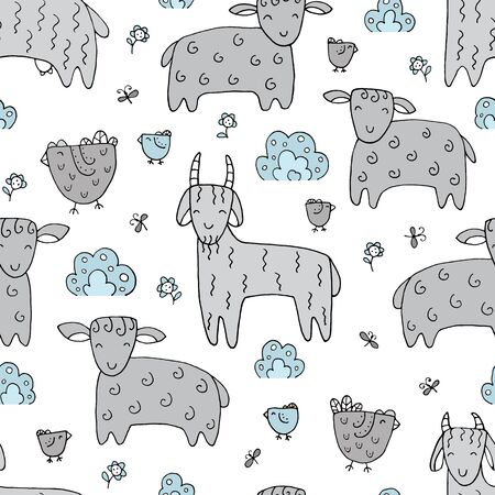 Seamless texture with funny goats and hand drawn elements. Childish background - animals on the farm. Eps10 vector line-art drawing.