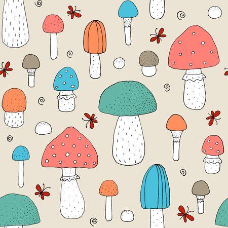 Seamless texture with forest mushrooms and hand drawn elements. Childish background - pets. Eps10 vector line-art drawing. Foto de archivo - 134586903