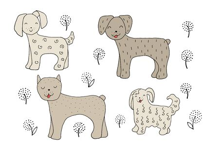 The drawing - funny dogs and hand drawn elements. Eps10 vector line-art illustration.