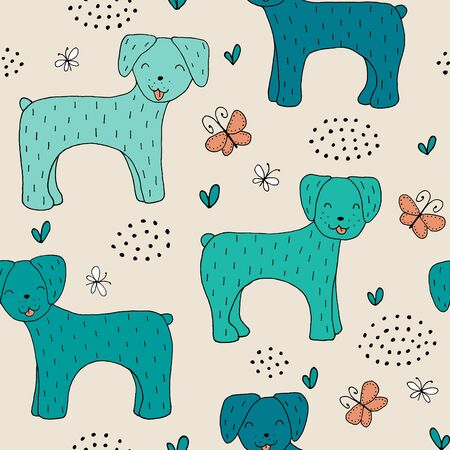 Seamless texture with funny dogs and hand drawn elements. Childish background - pets. Eps10 vector line-art drawing.