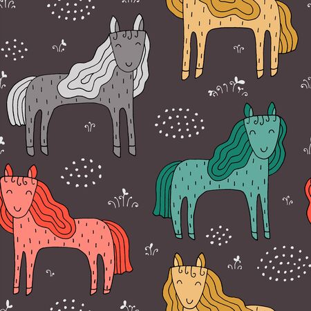 Seamless texture with funny horses and hand drawn elements. Childish background - animals on the farm. Eps10 vector line-art drawing. Foto de archivo - 134597720