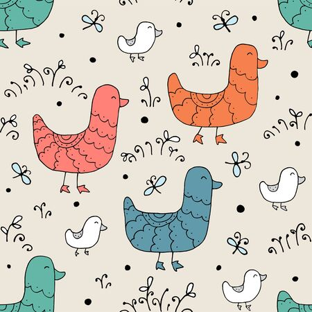 Seamless texture with funny ducks and hand drawn elements. Childish background - animals on the farm. Eps10 vector line-art drawing. Illusztráció
