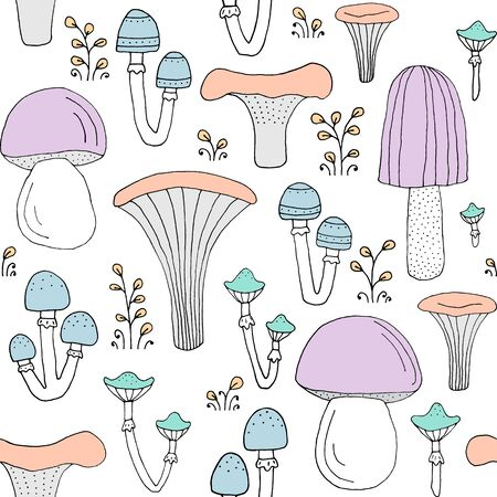Seamless texture with forest mushrooms and hand drawn elements. Childish background - pets. Eps10 vector line-art drawing. Illustration
